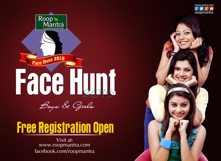 Don't miss this opportunity  #Roopmantra FaceHunt 2015 Contest  For free online registration visit @ http://roopmantra.com/  Use this Tag : #RoopmantraFaceHunt  Follow Us: http://bit.ly/1CPmIjs Comment, Like & Share the contest with your friends too.  *Terms & Conditions Apply