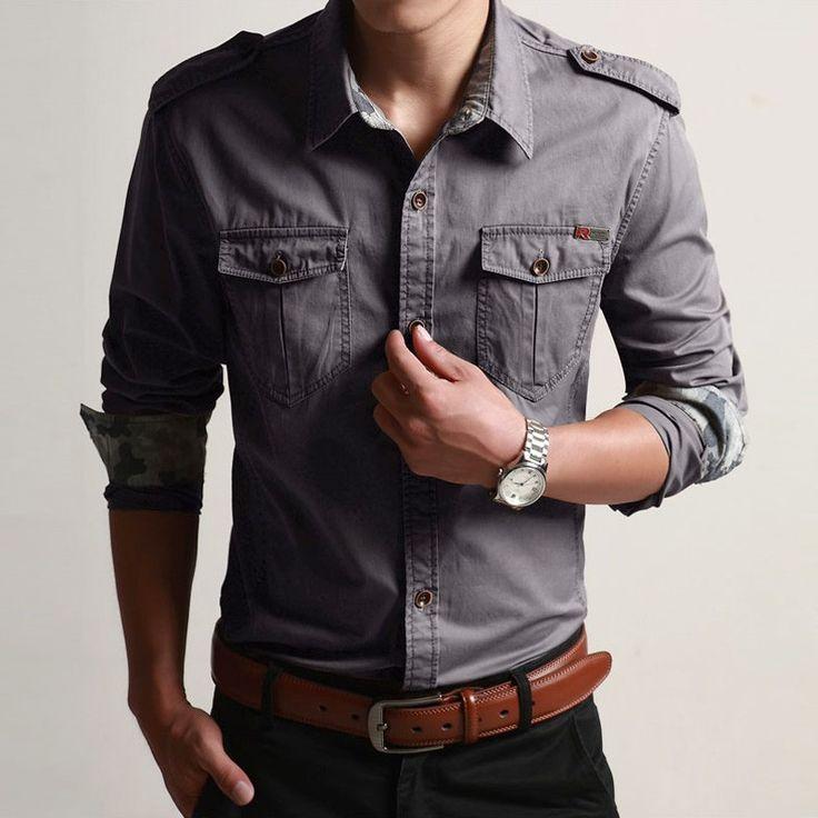 Большой Размер М 4XL Мужчины Рубашки Slim Fit Мода Длинным Рукавом случайные Рубашки Мужские Рубашки Платья Camisas Высокого Качества джинсы рубашки мужские купить на AliExpress