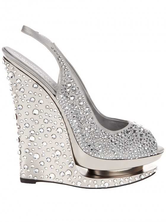 """gianmarco-lorenzi-crystal-wedge-shoe - wouldn't it be nice to say """"I think I'll wear my crystal wedges today."""""""
