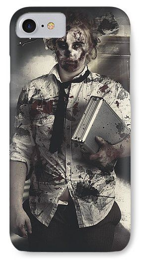 Horror IPhone 7 Case featuring the photograph Dead Zombie Business Woman Catching Ghost Train by Jorgo Photography - Wall Art Gallery