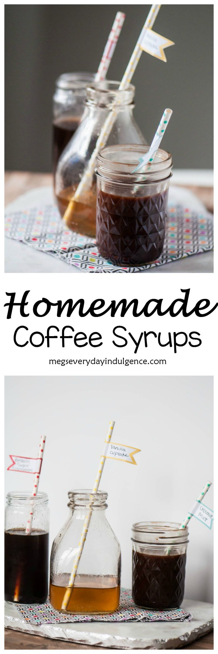 It's so simple, easy and affordable to make you own Homemade Coffee Syrups. Fun flavors of vanilla cupcake, chocolate mint and brown sugar cinnamon make coffee house drinks on a dime.