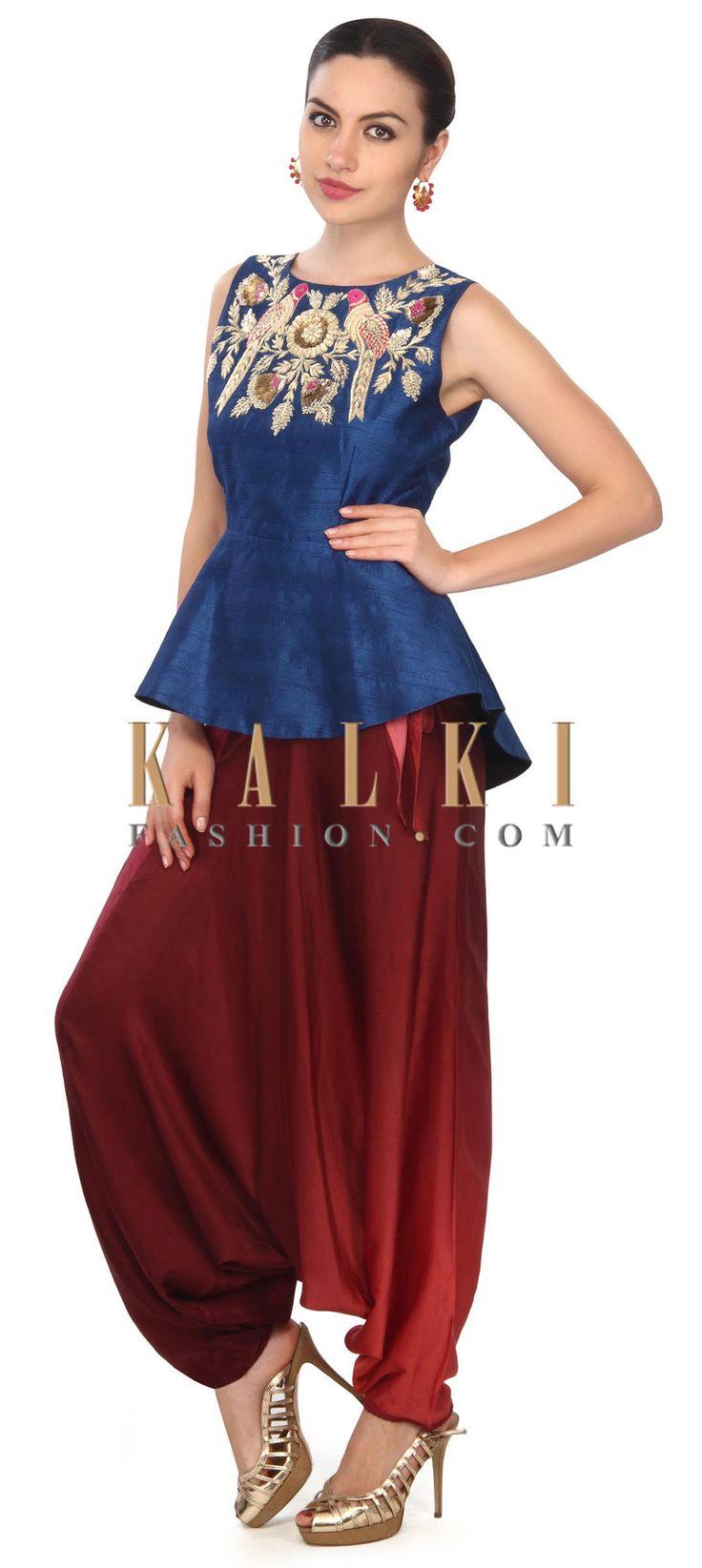 Buy this Navy blue peplum top with aladdin salwar only on Kalki