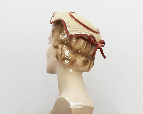 40s Tan Velvet Trim Hat  Vintage 1940s Ladies Church Hat