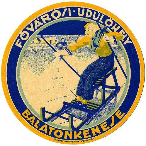 HUNGARY - Balatonkenese - Luggage label Vintage ski skate