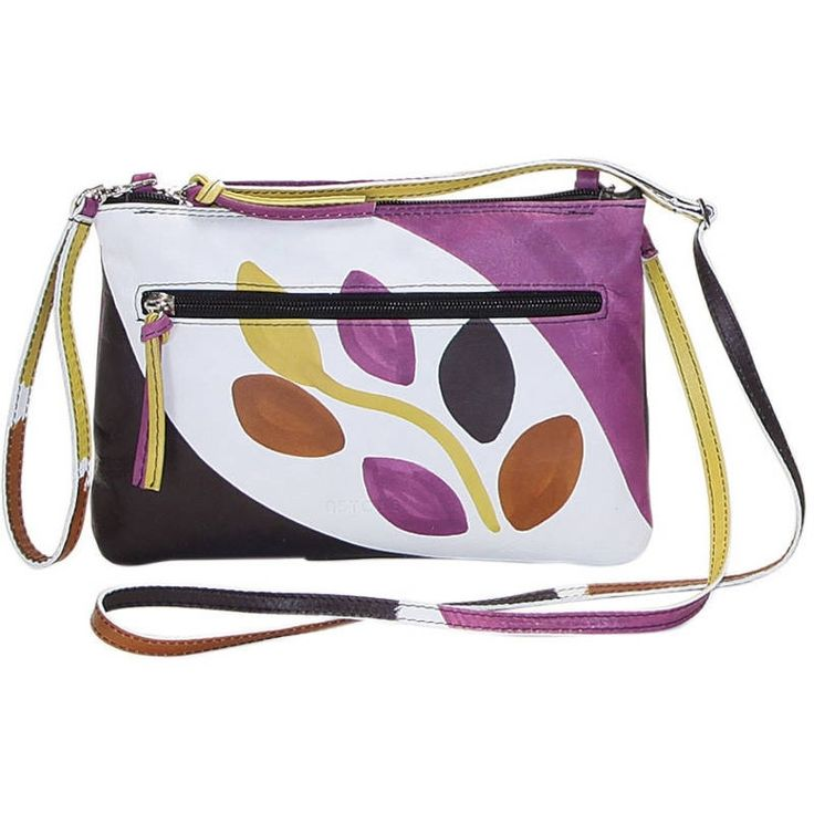 Natural leather purse, handpainted, also with shoulder strap. Flat and easy to wear. Ideal for free time and casual clothes, very comfy thanks to its flat shape, colored and lively it fits at any age. All Acquerello handbags can be purchased with matching shoes, wallet, belt and other accessories. Colors black, purple, brown and yellowand pattern branch.