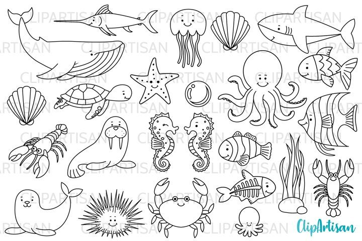 10+ Under The Sea Black And White Clipart