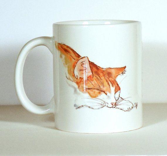 Cat Mug  Orange and White Cat Mug  Cat Gift by ArtByJulene on Etsy