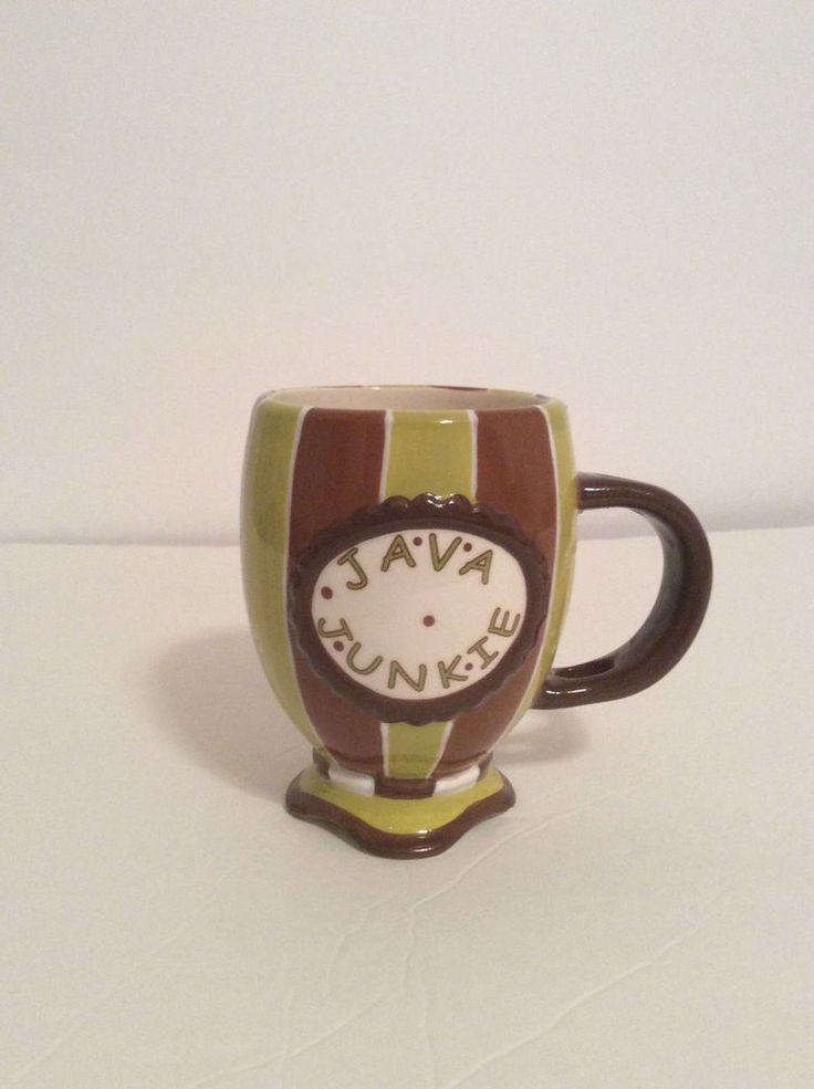 Coffee Mug, JAVA JUNKIE Pedestal Brown & Green stripes #mugs,
