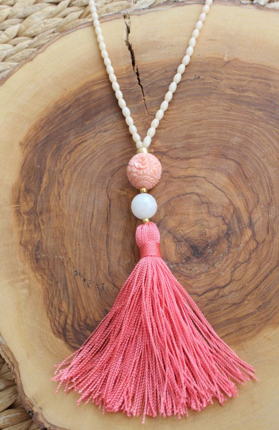 Long Coral Tassel necklace. Rice Beaded necklace by lizaslittlethings