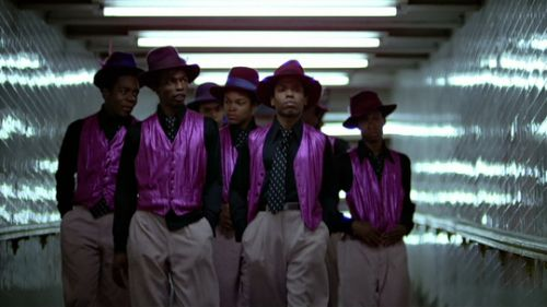The Boppers - They are all African American, wear fedoras, black shirts and ties, purple vests, and khaki pants. They are based in Harlem.
