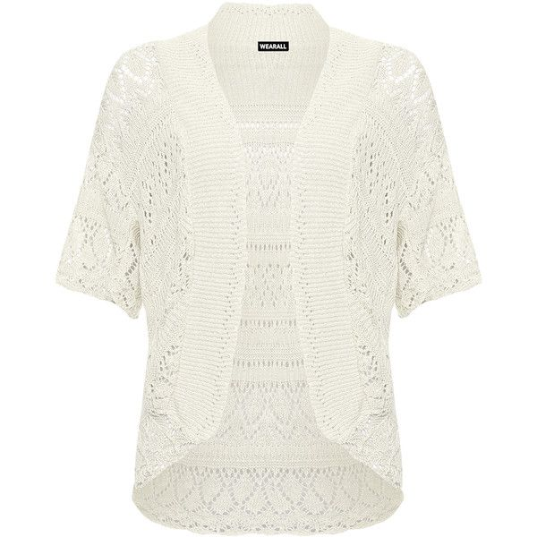 WearAll Plus Size Crochet Short Sleeve Cardigan ($15) ❤ liked on Polyvore featuring tops, cardigans, cream, cream knit cardigan, plus size tops, plus size crochet cardigan, short-sleeve cardigan and white cardigan