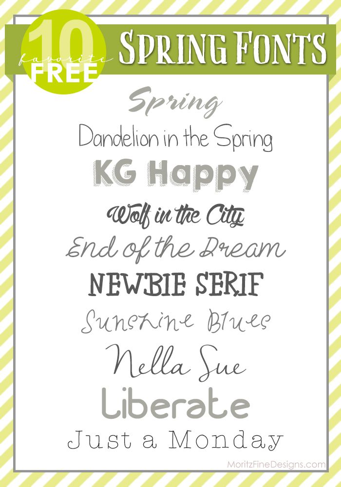 Spring Fonts | Free Font Friday | moritzfineblogdesigns  ~~ {10 Free fonts w/ easy download links} ~~