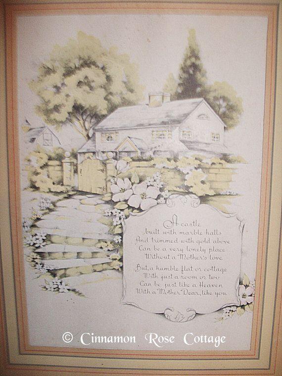 vintage framed print   poem about cottage and mother Etsy Home Etsy Vintage