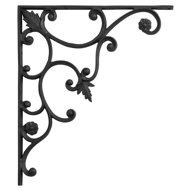Thistle+Motif+Large+Iron+Shelf+Bracket+-+Black+Powder+Coat