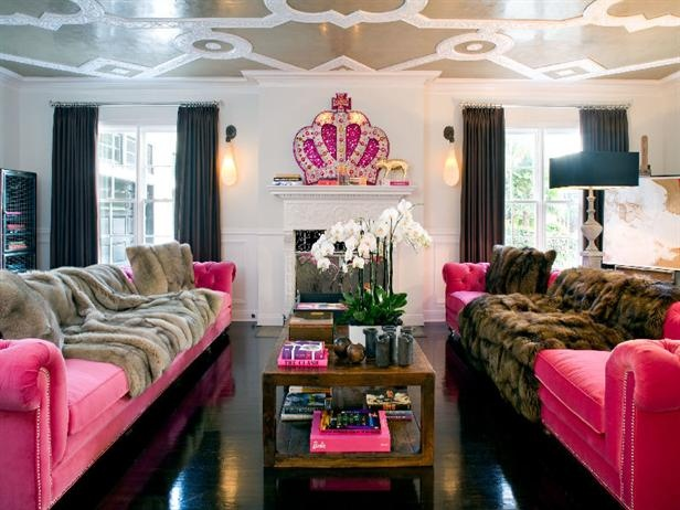 Like his tattoo-printed Ed Hardy tees and hoodies, French fashion designer Christian Audigier's Los Angeles home is flashy, colorful and bold. Located on a secluded corner lot in Los Angeles' affluent: Living Rooms, Women Caves, Pink Sofas, Pink Couch, Girls Caves, Fashion Design, Princesses Rooms, Hot Pink, Pink Velvet