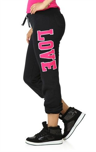 Deb Shops Roll Leg #Sweatpants with #Love Patch on Leg $14.17