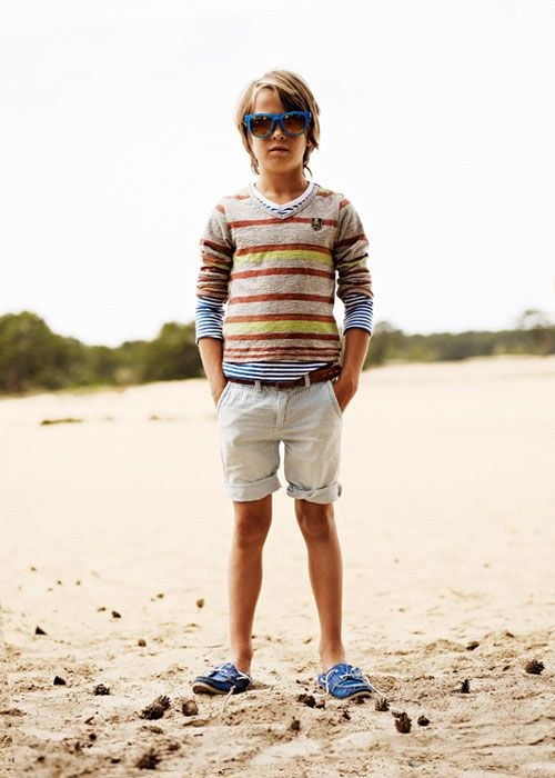 The My-Dad-Has-a-Yacht beach look for boys: mixed stripes and boat shoes