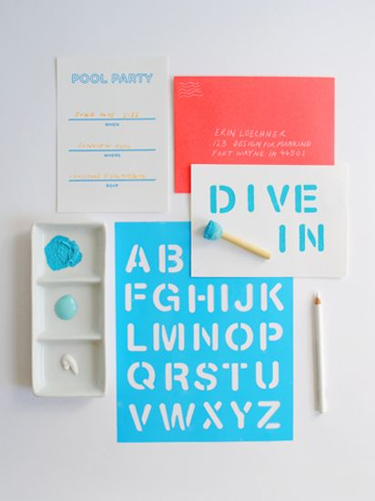Adding stenciled letters to invites... adds a handmade element without a ton of work!    MAKEKIND: Creative DIY projects from graphic designer, Christine Wisnieski   Design For MankindDiy Pools Invitations, Crafts Ideas, Christine Wisnieski, Diy Pools Parties Invitations, Invitations Design, Parties Ideas, Creative Diy, Diy Graphics Design, Diy Projects