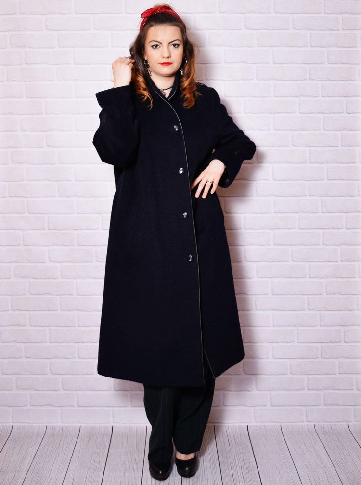 Vintage dark blue classic long coat.  The model in the pictures is size S/36 and 165 cm height. Please check measurements with your own to avoid problems with the size. Make sure you double the measurements where shown (*2):  Label size: L/40 Total lenght: 121 cm / 47.75 inches Sleeve lenght: 60 cm / 23.75 inches Shoulder to shoulder: 46 cm / 18.25 inches *2 Armpit to armpit: 61 cm *2 / 24 inches *2 Hips: 66.5 cm / 26.25 inches *2 Waist: 65 cm *2 / 25.7...