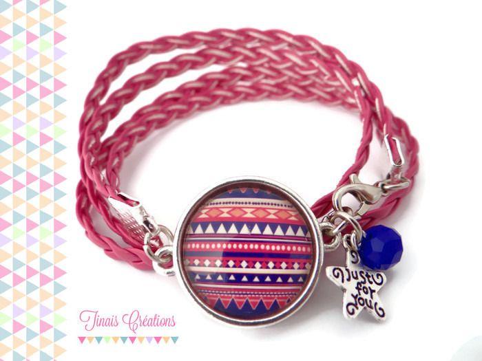 Bracelet cabochon argenté - Azteque bleu et rose - tressé perle breloque argenté verre : Bracelet par tinais-creations