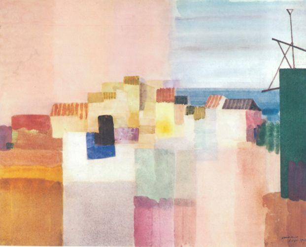 Louis Moilliet 'Sitges' (A coastal town southwest of Barcelona) 1931 Watercolor 45 x 38 cm