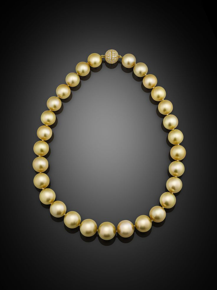 Estate Jewelry, Pearl Necklace, Golden South Sea Pearls ~ M.S. Rau Antiques