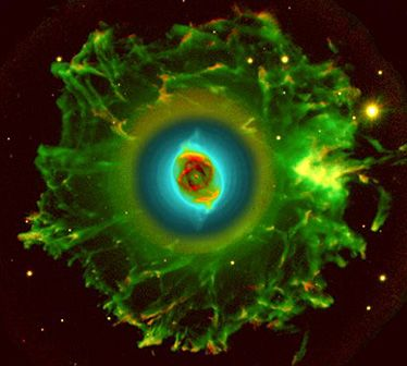 The Cats-Eye nebula seen in its full extent by the Nordic telescope.