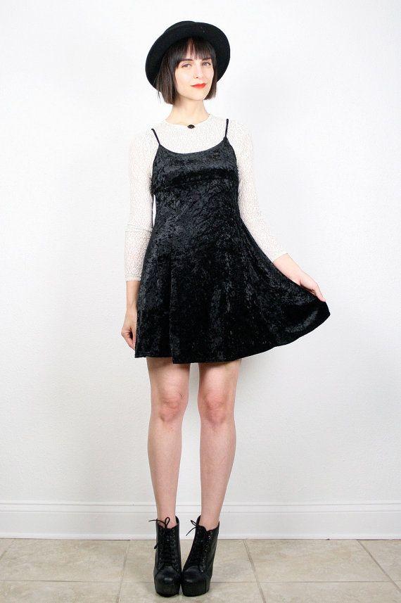 Vintage Black Crushed Velvet Dress Micro Mini by ShopTwitchVintage