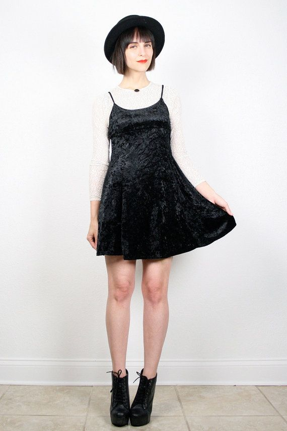 Vintage Black Crushed Velvet Dress Micro Mini by ShopTwitchVintage