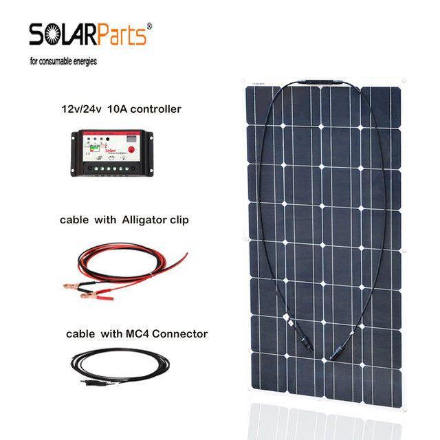 100w 12v 24v 10a Controller System Kits Car Boat House Flexible Solar Panel Boguang