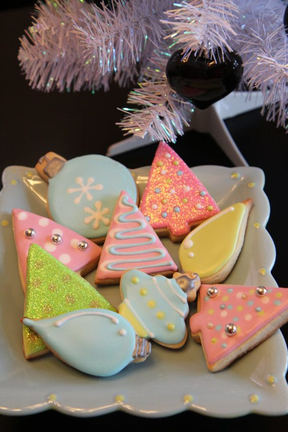 One dozen pastel Christmas cookies by CharliesCookies on Etsy