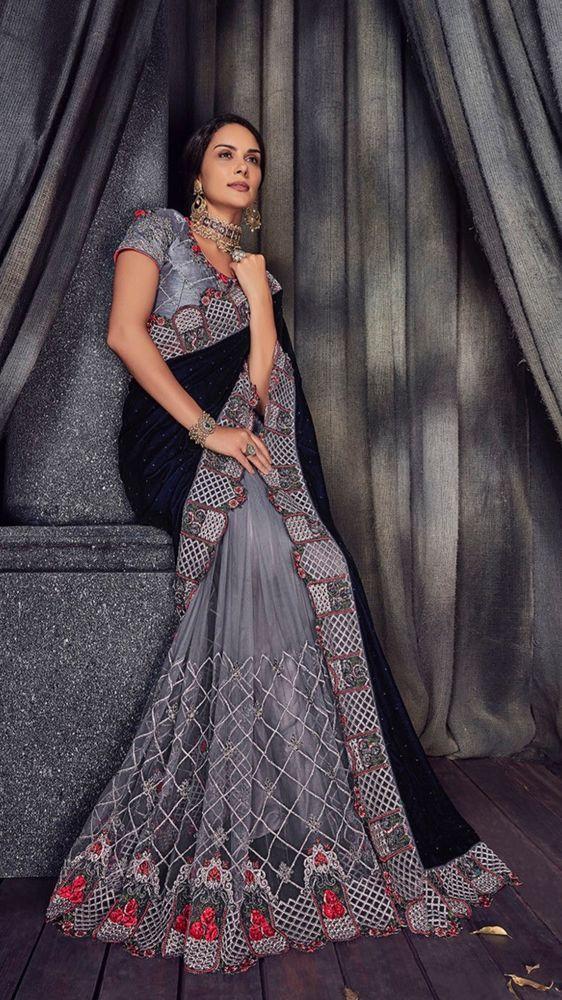 730aa8c821162 Indian Velvet Pallu Net Embroidery Bollywood Wedding Wear Saree Blouse Sari  Blue