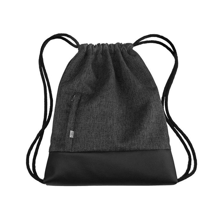 BACKPACK Drawstring Bag Leather Hipster Sack Bag Two Zipper-Closed Pockets Colorfull Lining Cotton Strings by PurolDesignBags on Etsy