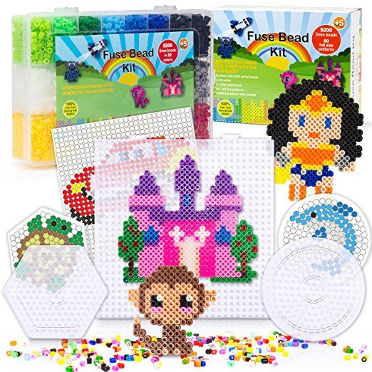 5200 Fuse Bead Set For Kids 5mm 22 Colors 60 Full Size Patterns 3 Pegboards Ironing Paper