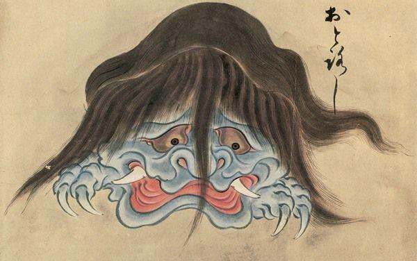 Japanese monster (yokai, bakemono) Otoroshi (a hairy creature that perches on the gates to shrines and temples) from the Hyakkai-Zukan