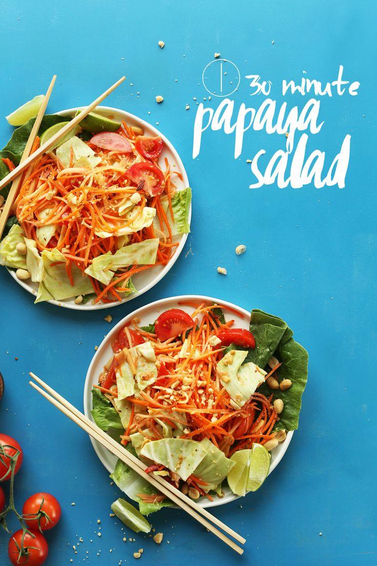 Thai Papaya Salad with a zingy, spicy, sweet sauce! #vegan #glutenfree