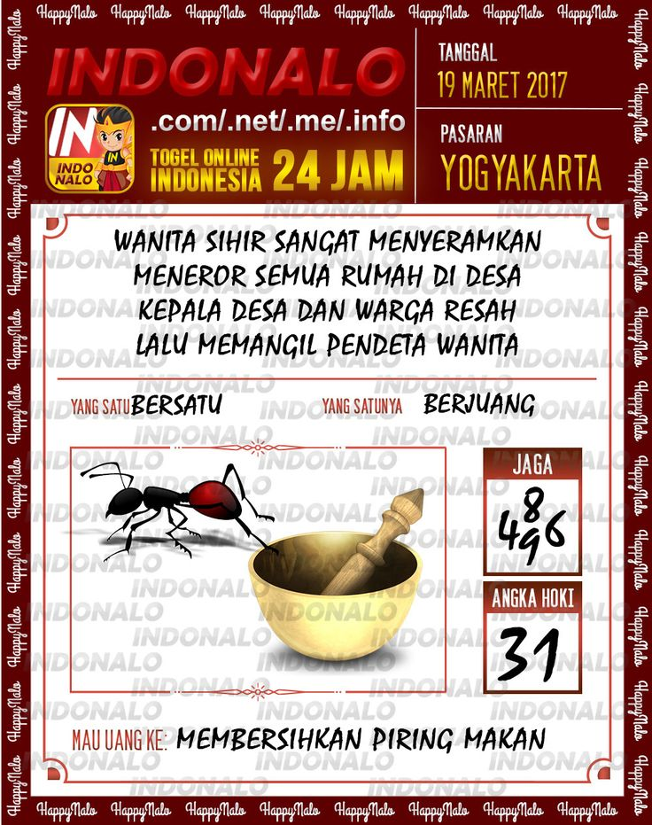 Angka Kuat 3D Togel Wap Online Indonalo Yogyakarta 19 Maret 2017