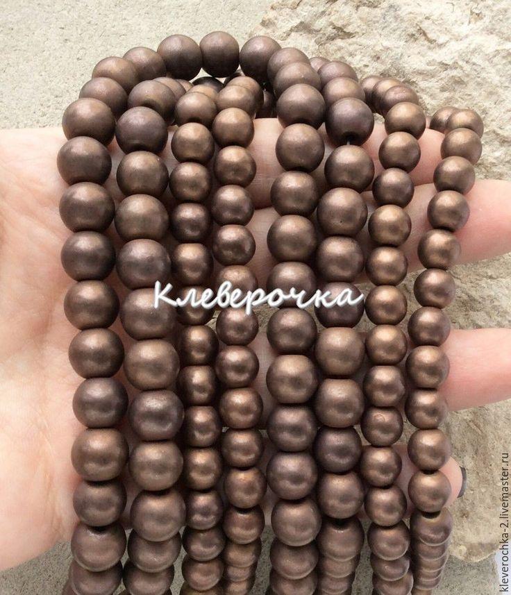 Купить Гематит 10 мм шар матовый коричневый с напылением см.описание и фото
