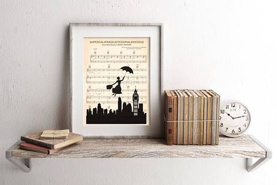 Here is a sheet music art print of Mary Poppins Flying Over the City on the sheet music for Supercalifragilisticexpialidocious. This is perfect for any Mary Poppins/Disney fanatic! #artprint