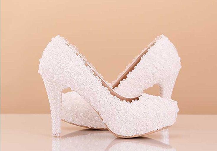 Белое свадебное платье обувь 4 дюйм(ов) высокой пятки свадебные туфли кружева цветок невесты обувь матч свадьба экипировка свадебные высокие каблуки