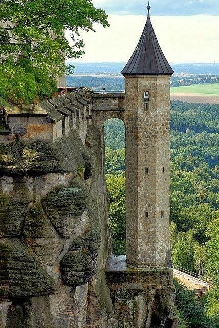 Konigstein Fortress (Saxon Bastille), hilltop fortress near Dresden, in Saxon,Switzerland, Germany,