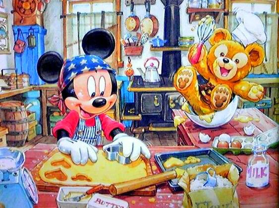 Mickey along with Duffy is making some heart-shaped cookies.