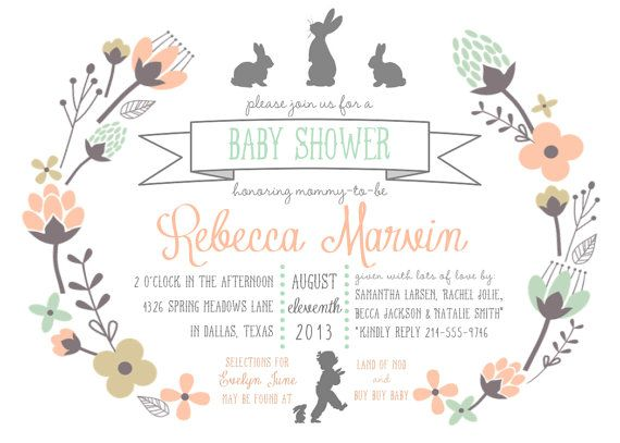 Charming Bunny Baby Shower Invitation PRINTABLE 5x7 By RaindropLollipops, $15.00