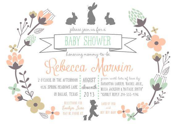 Bunny Baby Shower Invitation PRINTABLE  5x7 by RaindropLollipops, $15.00