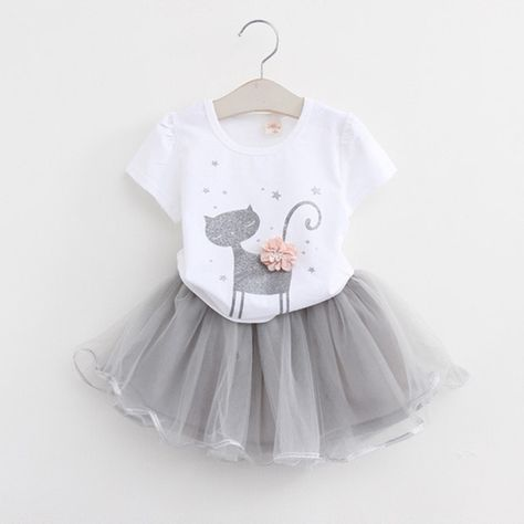 Baby Girls Clothing Set Necklace + T-Shirt + Skirt
