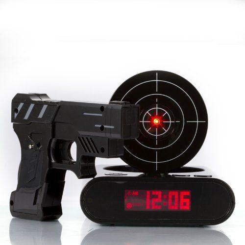 Lock N' load Gun Alarm Clock/Target -@- http://geekarmory.com/lock-n-load-gun-alarm-clocktarget/