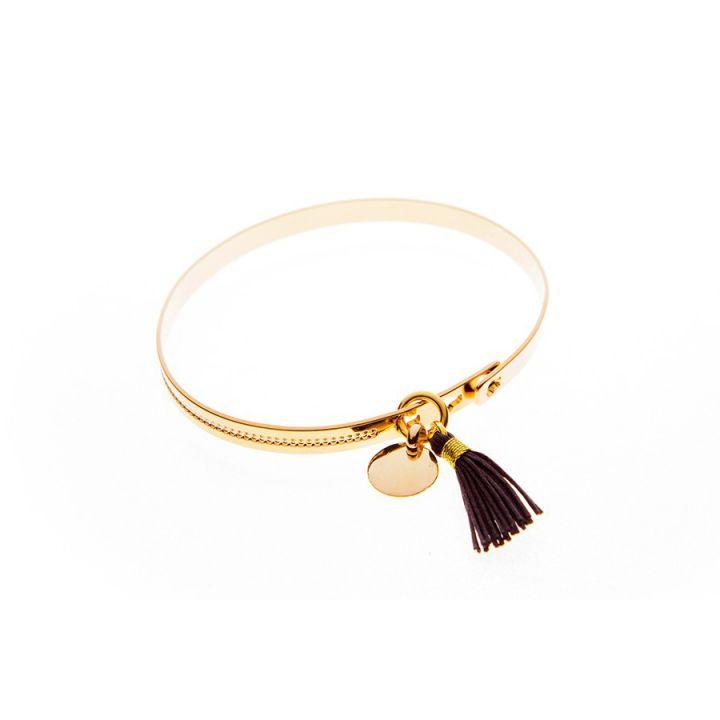 Bracelet jonc cadenas médaille et pompon plaqué or en vente sur L'Atelier d'Amaya