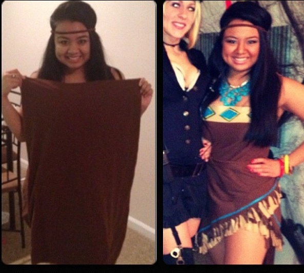 diy pocahontas costume out of a pillow case before and. Black Bedroom Furniture Sets. Home Design Ideas