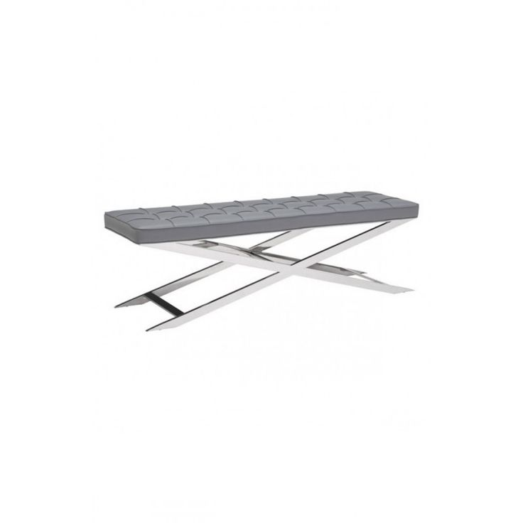 Unique Gray Bench https://www.studio9furniture.com/bedroom/benches/pontis-bench-gray  This bench is supported by a solid stainless steel base with a plush seat with soft leatherette button tufted upholstery.