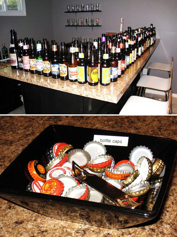 bottle opener and bowl for caps at each station - would love to have a beer tasting party ~
